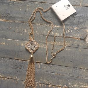NWT gold chain with emblem and tassel, 24-27""